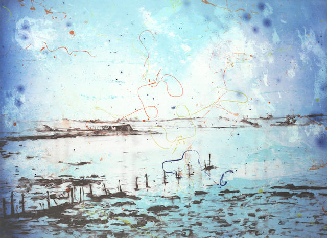 Elizabeth Magill (Irish, born 1959) Lower Lough, from the 'Parlous Land'  Lithograph printed in colours, 2006, on wove, signed and numbered 18/45 in pencil, published by The Paragon Press, London, the full sheet printed to the edges, 595 x 820mm (23 3/8 x 32 1/4in)(SH)