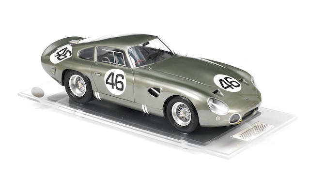 A FINE 1:8 SCALE SCRATCHBUILT MODEL OF THE 1963 MONZA WINNING ASTON MARTIN 'DP214' BY JAVAN SMITH,