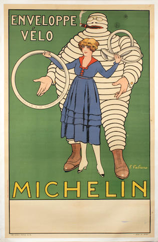After Fabien Fabiano (1883-1962), a rare 'Michelin Enveloppe Velo' advertising poster, French, 1916,
