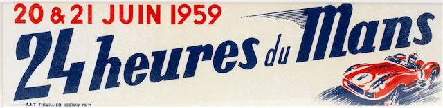 An official 1959 '24 Heures du Mans' window advertising transfer,