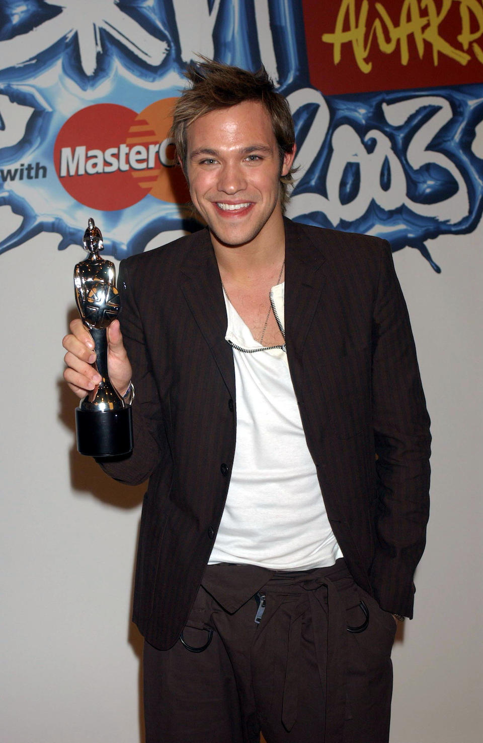 Will Young: A Brit Award presented to Will Young for 'British Breakthrough Artist', 2003,