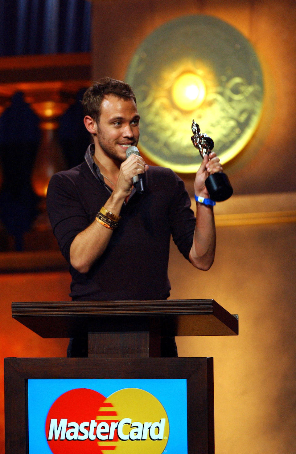 """Will Young: A Brit Award presented to Will Young for 'British Single """"Your Game"""", 2005,"""