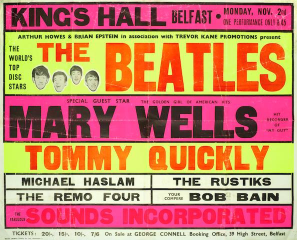 The Beatles: A very rare Belfast concert poster, 1964,