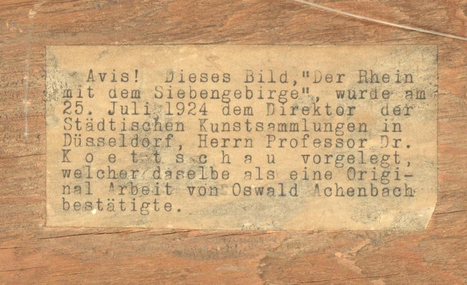 Oswald Achenbach (German, 1827-1905) Der Rhein mit dem Siebengebirge