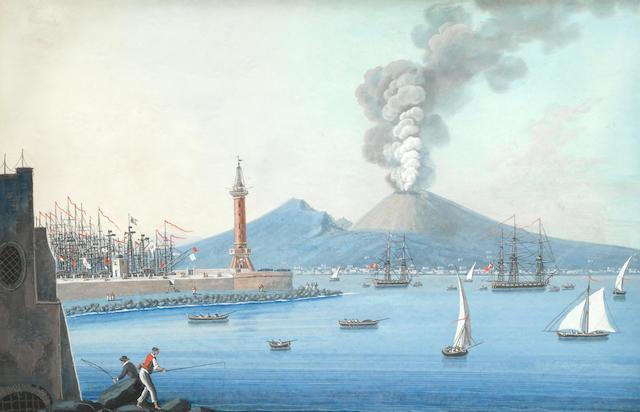 Neapolitan School (19th Century) Neapolitan scenes, including Vesuvius erupting and the bay of Naples each 26.7 x 40.7cm (10 1/2 x 16in).(4)