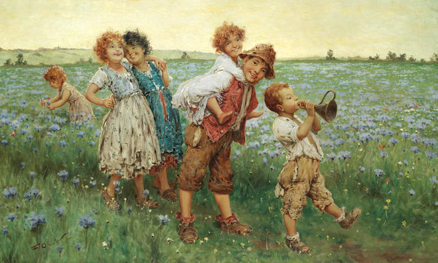 Frederico Oliva (Italian) Children playing in a field of flowers