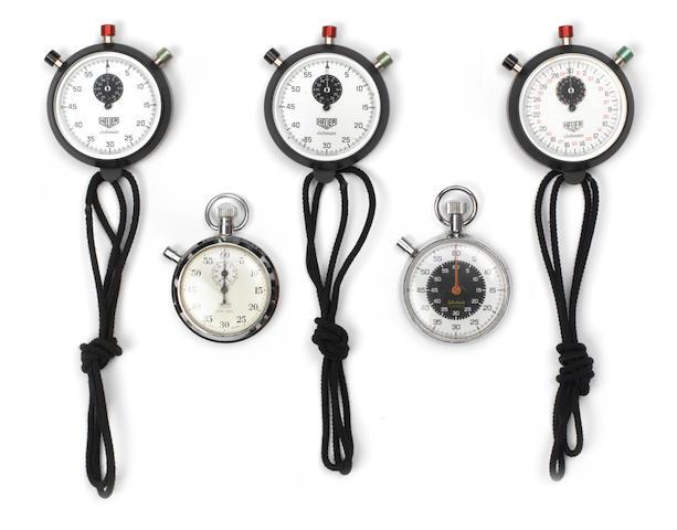 Three Heuer 'Clubmate' stopwatches,   ((5))