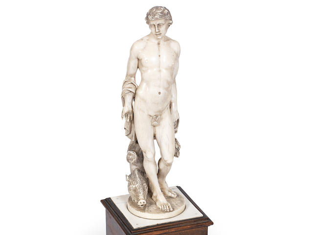 A late 18th / early 19th century German carved ivory figure of Meleager