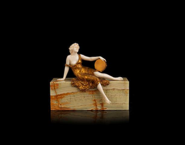 Ferdinand Preiss 'Tambourine Dancer' a Gilt Bronze and Carved Ivory Figure, circa 1920