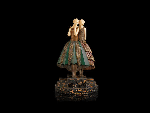 Lucille Sevin 'Whispers' an Art Deco Patinated and Carved Ivory Group, circa 1925