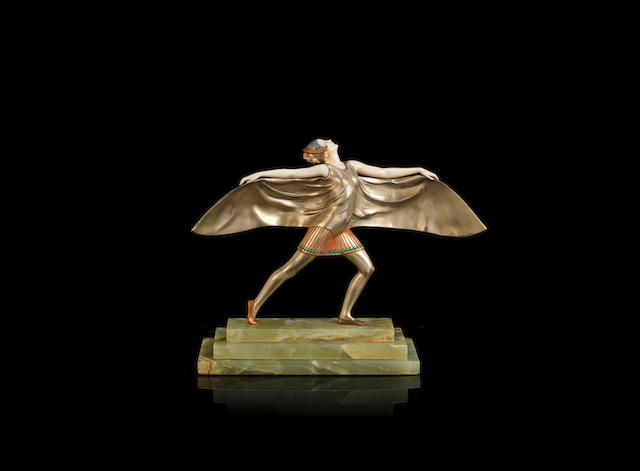 Ferdinand Preiss 'The Bat Dancer' an Art Deco Patinated Bronze and Carved Ivory Model, circa 1925
