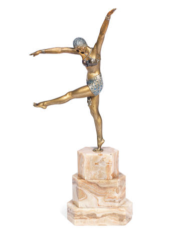 Demetre Chiparus 'Dancer of Olynthus' an Art Deco Gilded and Silvered Bronze Model, circa 1925
