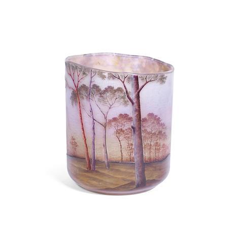 Daum a Cameo Glass Vase with Landscape, circa 1905