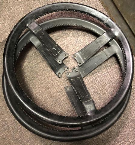 Two Aston Martin V8 steering wheels,   ((2))