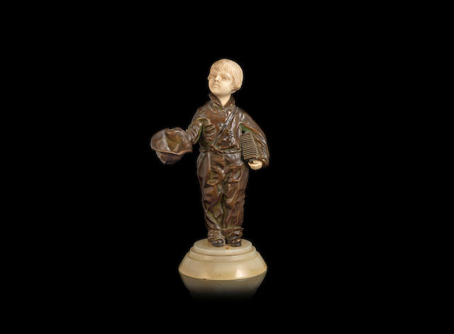 Demetre Chiparus a Patinated Bronze and carved Ivory Study of a Child with Accordion, circa 1920