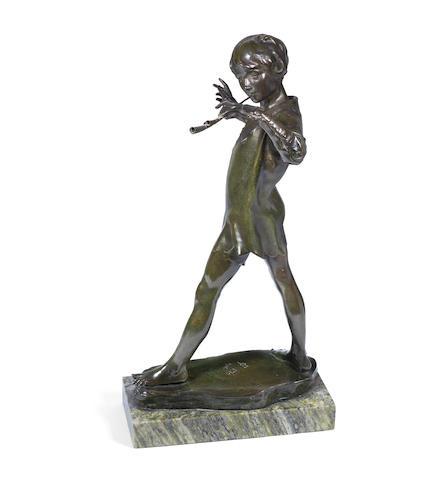 Sir George James Frampton (english, 1860-1928) 'Peter Pan' a Patinated Bronze Study, 1916