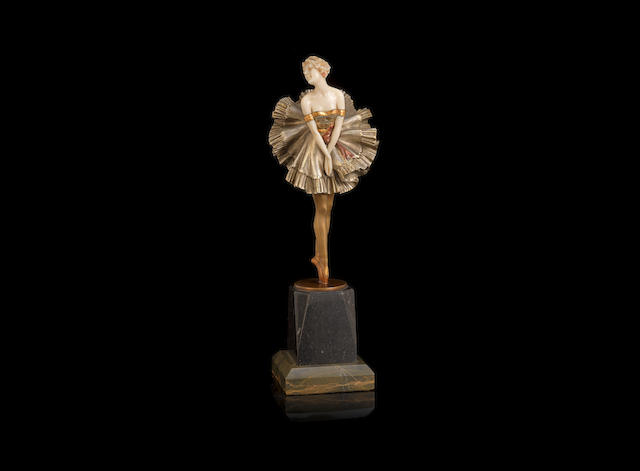 Paul Philippe A Silvered Bronze and Carved Ivory Model of a Ballet Dancer, circa 1925