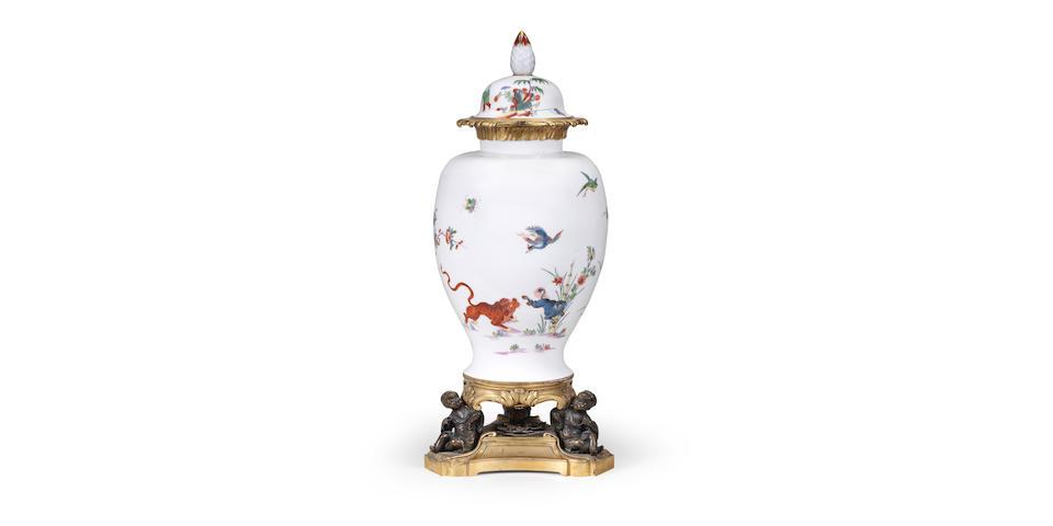 A rare gilt-metal-mounted Meissen Augustus Rex vase, circa 1730