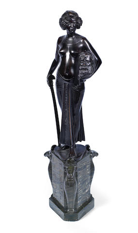 Fritz Christ 'Salome' a Patinated Modernist Bronze Study of the Biblical Figure Clasping the Head of John the Baptist