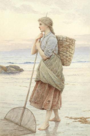 Henry James Johnstone (1835-1907) The shrimper