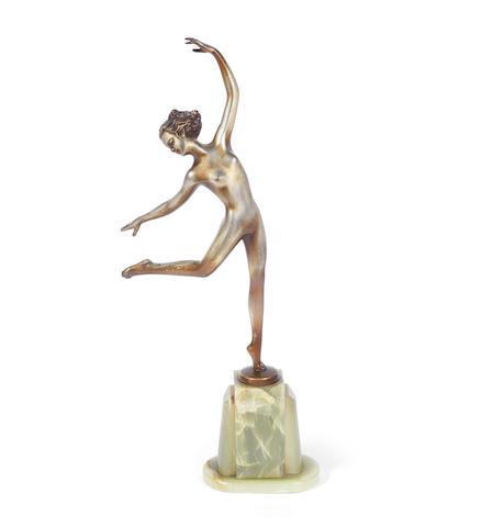 Josef Lorenzl  an Art Deco Silvered Bronze Model of a Dancing Girl, circa 1925