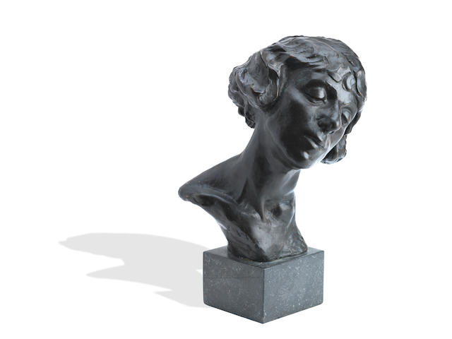 William John Leech (Irish, 1881-1968) A bronze bust of May Botterell