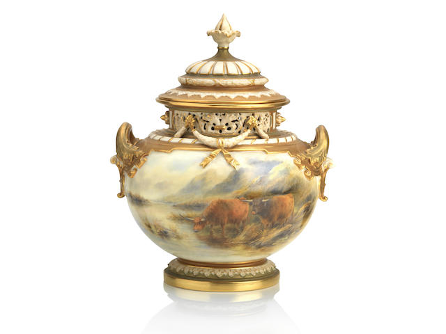 A large Royal Worcester 'Bow' vase painted by John Stinton 1917