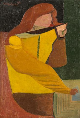 Robert Colquhoun (British, 1914-1962) Woman Writing 23.4 x 15.3 cm. (9 1/8 x 6 in.)