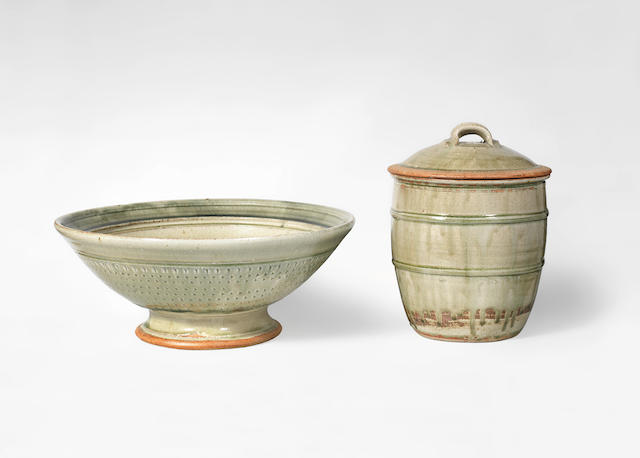 Richard Batterham (British, 1936-)  A Large Footed Bowl and Jar with Cover, circa 1985