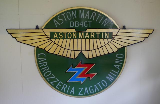 A hand-painted 'Aston Martin Carrozzeria Zagato' commemorative metal sign,