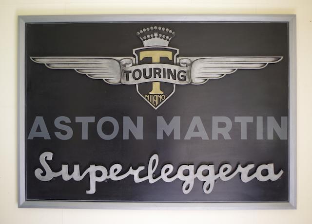 'Carrozzeria Touring Milano' and 'Superleggera' garage display emblems,