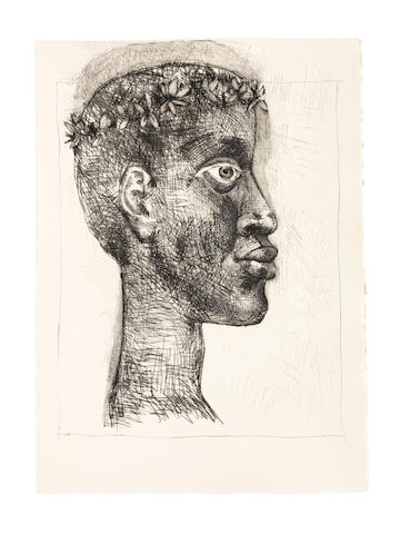 Pablo Picasso (Spanish, 1881-1973) Aimé Césaire, Corps Perdu, Éditions Fragrance, Paris, 1950  The complete set of two unsigned etchings (one with drypoint), ten aquatints, and twenty engravings with burin, 1950, on Montval watermarked Corps Perdu, title page, justification, text in French and table of contents, signed in pencil by the artist and the author on the justification, copy 121 of 207 (there were also 12 hors commerce), the full sheets, loose (as issued), in very good condition, within folded paper wrappers with the title design, paper-covered boards with gilt lettering on spine and matching slipcaseSheet 390 x 280mm.Folio 410 x 300 mm.