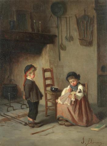 Jules Devaux (French, born 1837) Feeding the doll