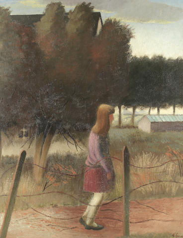 Gilbert Spencer R.A. (British, 1892-1979) Girl at Garsington (Painted in 1938)