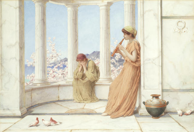 Henry Ryland (British, 1856-1924) Classical maidens on the terrace, one playing an aulos