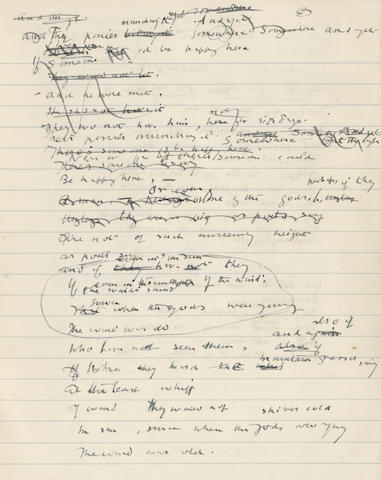 THOMAS (EDWARD) Autograph compositional drafts of his poems 'The Mountain Chapel', 'The Birds' Nests', and 'House and Man' (all untitled here), [Steep, Gloucestershire], 17 and 18 December 1914