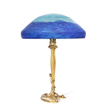 Louis Majorelle and Daum A Rare Art Nouveau Bronze and Decorative Glass Table Lamp, circa 1910
