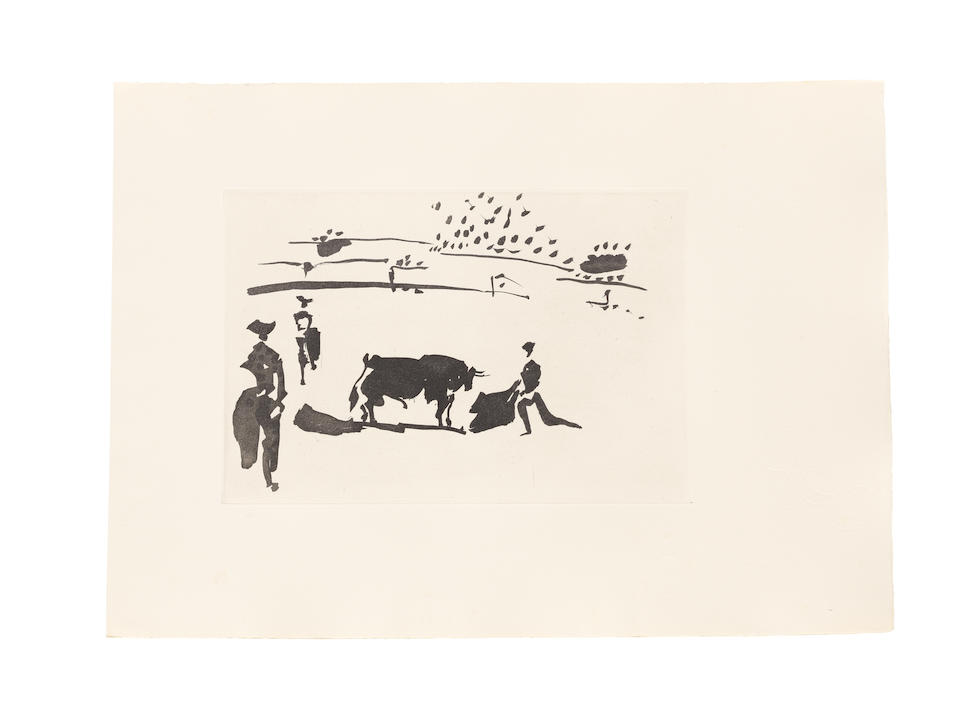 Pablo Picasso (Spanish, 1881-1973) Jose Delgado, La Tauromaquia, Ediciones de la Cometa, Barcelona, 1959  The complete set of 26 sugar-lift aquatints, on Guarro paper with a Bull's Head watermark designed by Picasso, hors-texte, with title, text in Spanish, table of contents and justification, signed and numbered X in pencil on the justification, one of the ten collaborators' copies, aside from the standard edition of 220, printed by Atelier Lacourière, Paris, the full sheets, loose (as issued), occasional foxing, in good condition, within the original grey paper folder with the drypoint title and design on the frontPlate 195 x 290mm., Sheet 347 x 490mm.Folio 355 x 500mm.