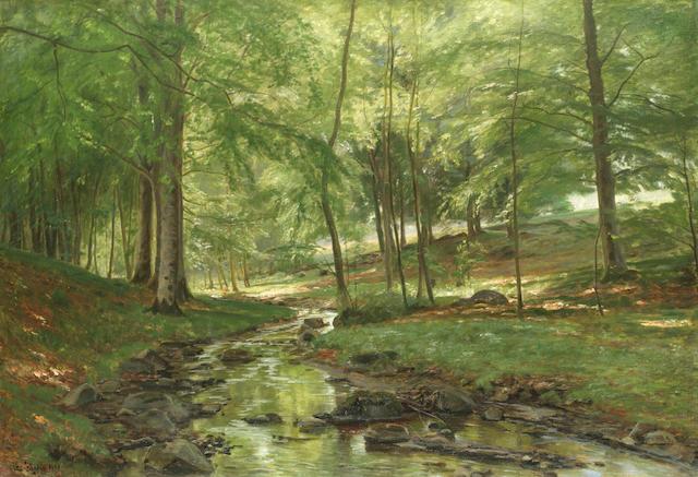 Christian Peder Mørch Zacho (Danish, 1843-1913) A woodland stream
