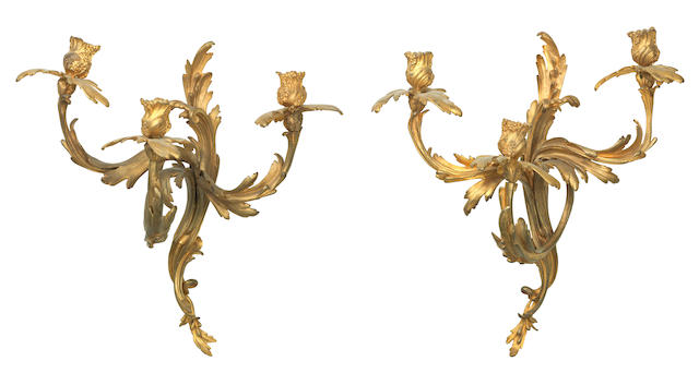 A  pair of late 19th/early 20th century gilt bronze  appliques
