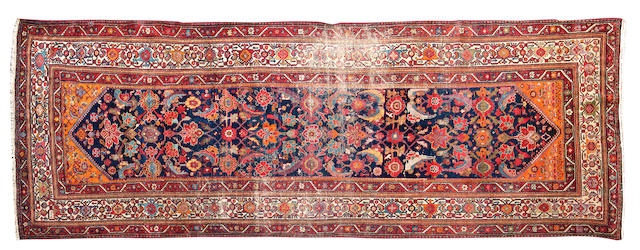 A Hamadan malayer runner Persia 374cms length x 140cms wide