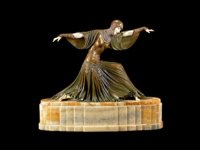 demetre chiparus 'Thais' a Rare Art Deco Patinated Bronze and Carved Ivory Model of an Exotic Dancer, circa 1925