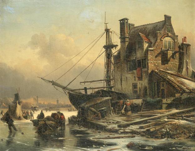 Elias Pieter van Bommel (Dutch, 1819-1890) Figures on frozen river by a town