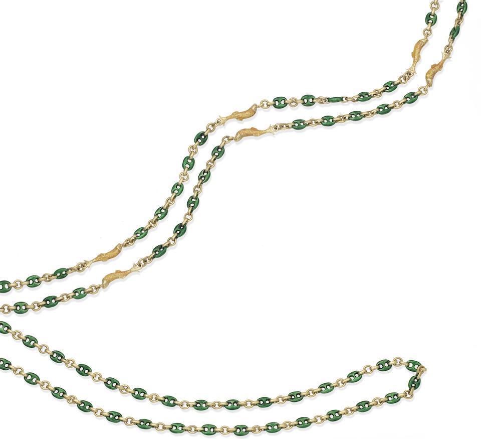 Two enamel long chains, (2)