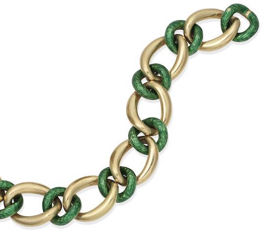 An enamel curb-link bracelet