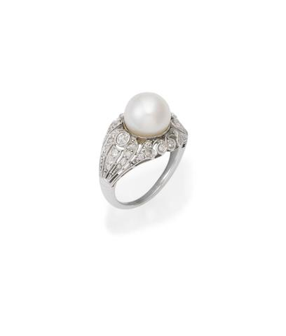 A cultured pearl and diamond ring