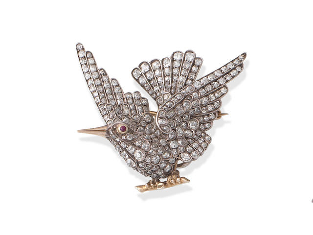 A diamond novelty brooch,