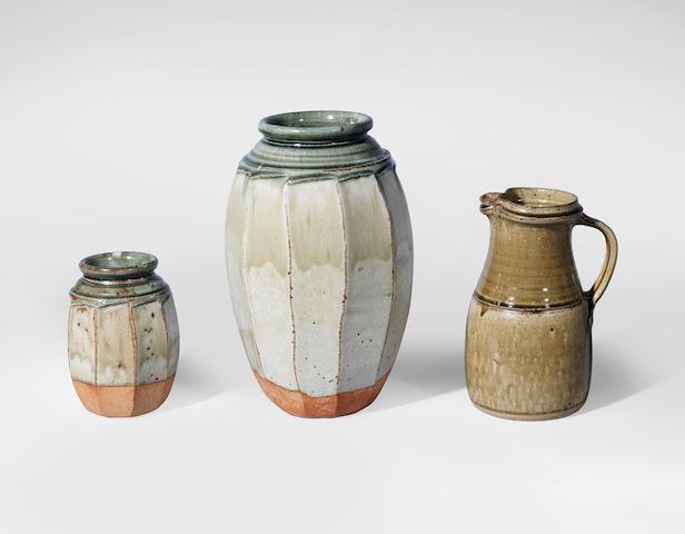 Richard Batterham (British, 1936-) Two Vases and a Jug, circa 1985
