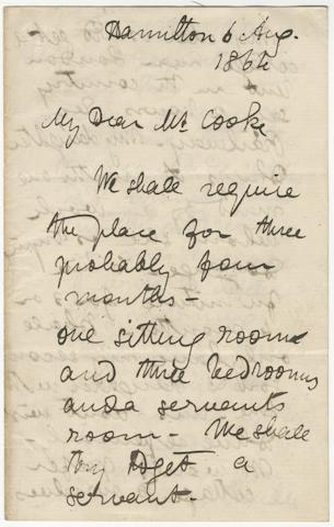 "LIVINGSTONE (DAVID) Autograph letter signed (""David Livingstone""), to his publisher Robert Cooke, at John Murray's, written on his return from the Zambesi Expedition, Hamilton, 6 August 1864"
