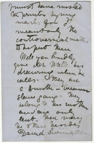 """LIVINGSTONE (DAVID) Autograph letter signed (""""David Livingstone""""), to his publisher Robert Cooke, at John Murray's (""""My Dear Mr Cooke""""), giving details of the Revise Proofs that he is sending back,  no place, 7 April 1865"""